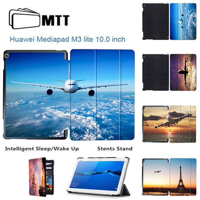 MTT Boeing Aircraft Tablet Case For Huawei MediaPad M3 Lite 10 Trifold Leather Cover For Media pad M3 Lite 10.1 BAH-W09 BAH-AL00