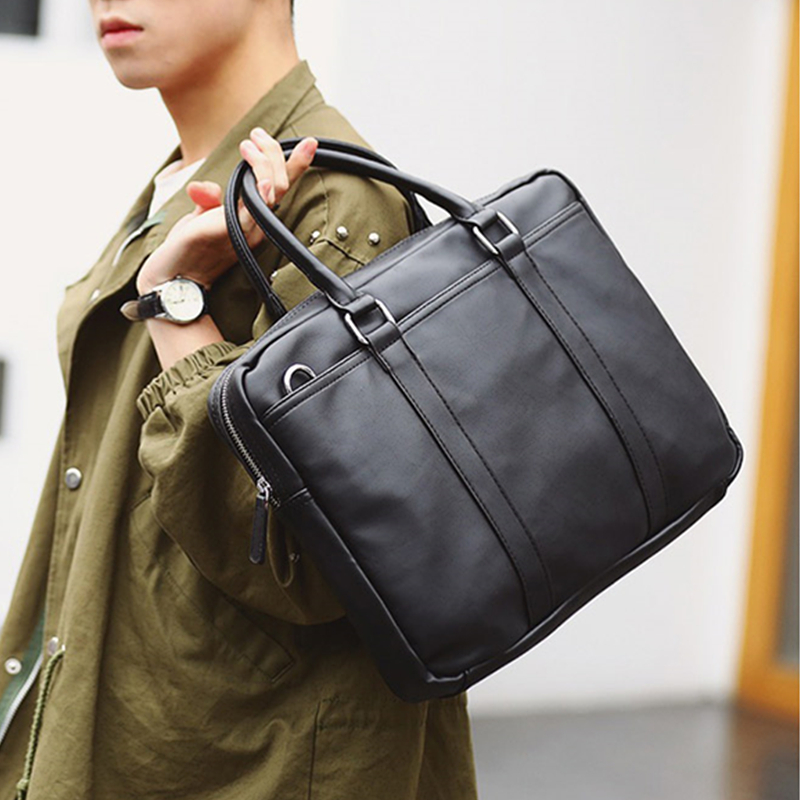 Burminsa Simple Men Briefcase 14inch Laptop Bags High Quality PU Leather Office Work Shoulder Bags Business Computer Bags 2020
