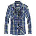 Free shipping New 2017 Summer long sleeve men's Plaid casual shirts fashion turn down collar slim fit male's top 82hfx