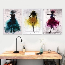 Ink Jet Fashion Woman Portrait Painting Canvas Print Watercolor Figure for Office Baby Room Wall Decor Poster Drop Ship
