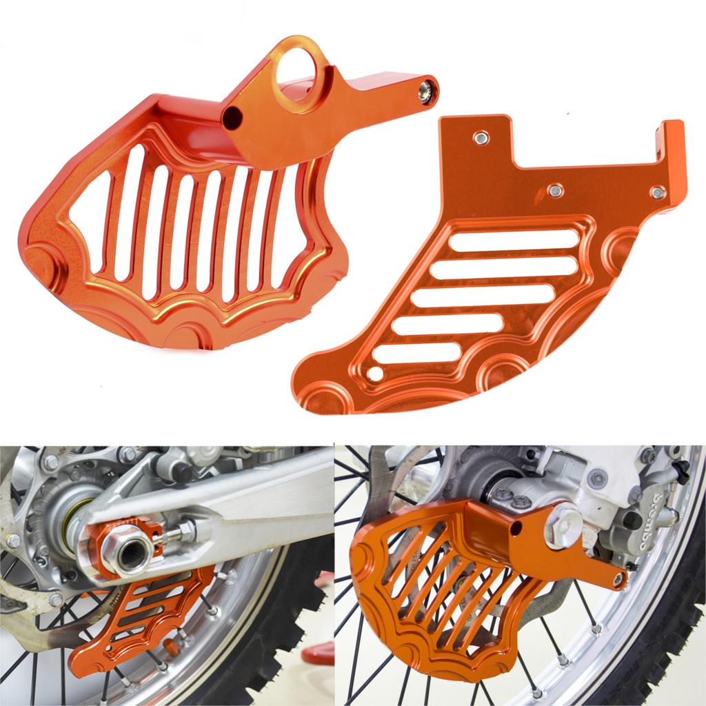 NICECNC Front & Rear Brake Disc Guard Protector For KTM 125 200 250 300 350 450 500 530 SX SXF EXC XC XCW EXCR MXC 2004-2014 motorcycle front brake disc rotor guard brake cover brake protector for ktm 125 530 sx sxf xc xcf 03 14 125 530 exc excf 03 15