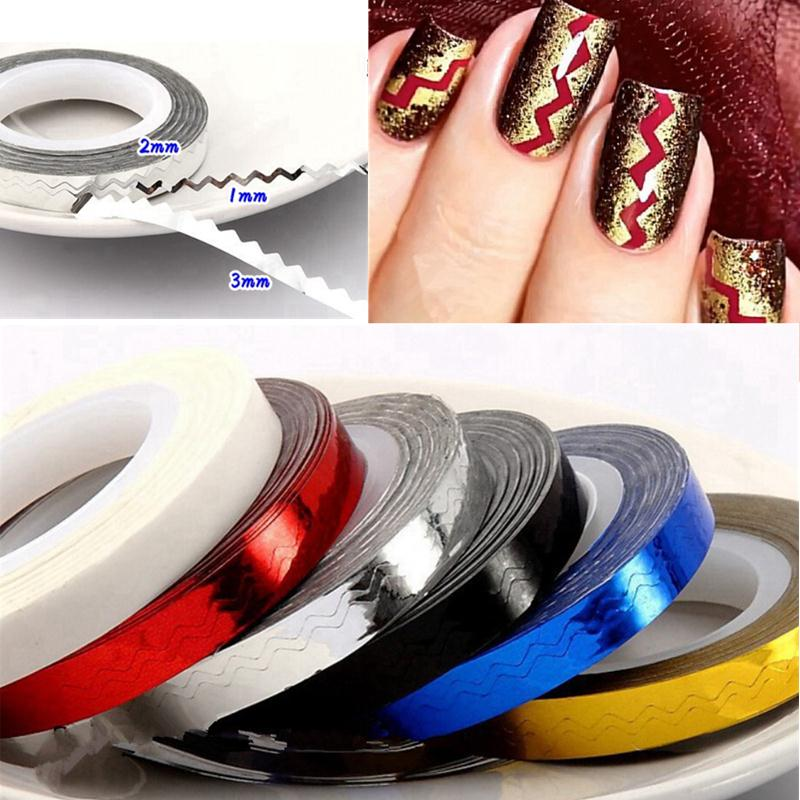 6 Rolls Colorful Decor Nails Sticker Art Waves Striping Tape Line