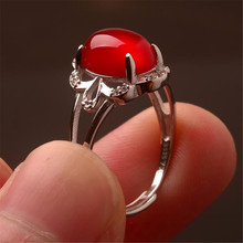 2019 YKNRBPH Lady's S925 sterling silver Ring  Chalcedony Pomegranate Red Oval Shape Stone Anniversary Ring FineJewelry цена 2017