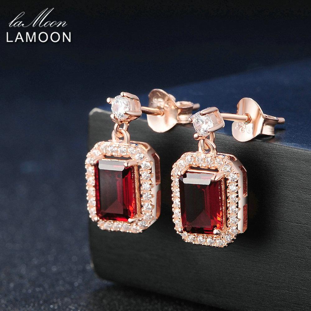 Lamoon Dangle Earring 1.1ct 100% Natural Red Garnet Square Gemstone - Fine Jewelry - Photo 4
