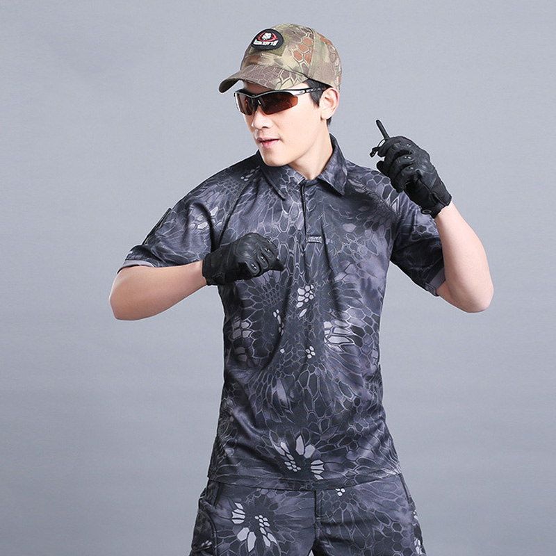 HOT 2017 Outdoor Summer Short Sleeve Sport Cargo Commando tactical quick-drying Lapel cycling Fan T-shirt Camping Hiking Tee