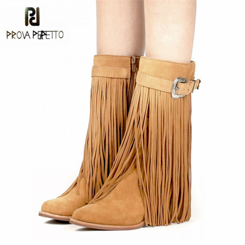 все цены на Prova Perfetto Full Fringed Women High Boots Autumn Winter Suede Tassels Chunky High Heel Long Boot Buckles Platform Botas Mujer