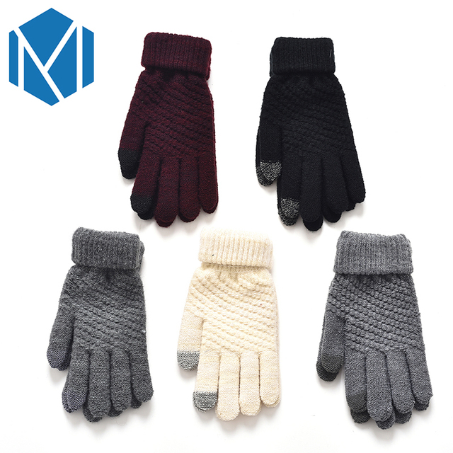 Warm Winter Knitted Full Finger Gloves Screen Luvas