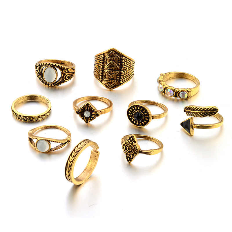 Bohemian 10 unids/pack Vintage anillos de piedra azul Lucky Stackable Midi anillos conjunto nudillo anillo anillos para mujeres joyería fiesta