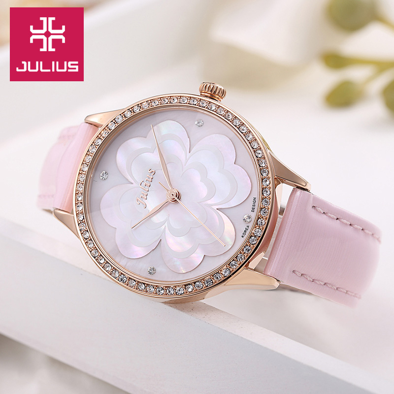 Julius Lady Women's Watch Japan Quartz Hours Fine Fashion Dress Bracelet Leather Shell Four-Leaf Clover Girl Birthday Gift julius ladies fashion quartz watch women bracelet clasp casual dress leather wristwatch japan quartz birthday gift ja 965