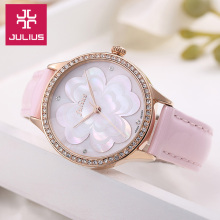 Julius Lady Women's Wrist Watch Quartz Hours Best Fashion Dress Korea Bracelet Leather Shell Flower Girl Birthday Gift 803 crystal rhinestone shell lady women s watch japan quartz hours clock fine fashion dress chain bracelet girl gift julius box