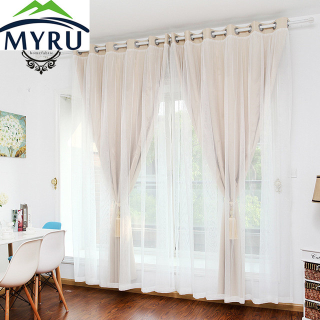 MYRU Korean Bedroom Curtains Finished The Living Room Window Curtains  Simple Double Lace Princess Room Shade