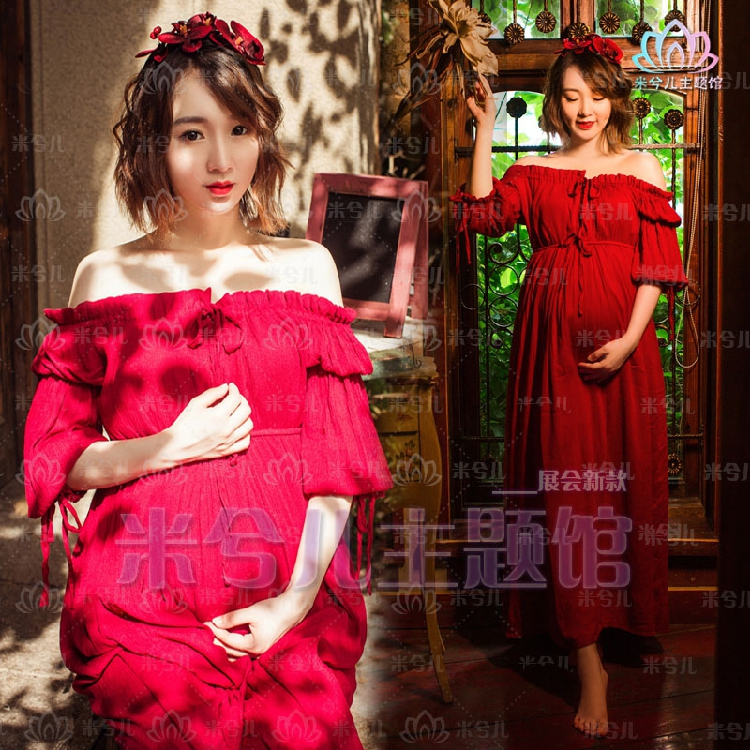 New Maternity pregnant women Photography Props Pure red Dress Pregnancy Romantic clothing Fancy women voile skirt maternity gown photography props maternity photography fancy props dress pregnancy robe maternity q135