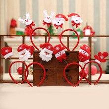 Милая Рождественская тематическая повязка на голову Санта-Клаус/Снеговик/олень/медведь/перчатка/рог, Нетканая застежка на голову для детей, рождественский подарок, украшение для дома