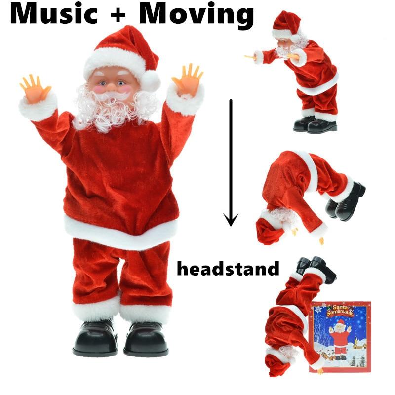 30 cm Nieuwjaar Kerst Ornamenten Elektrische Kerstman Muzikale Dansen Pluche Poppen Speelgoed Geschenken Voor Kind Home Decoraties Ambachten