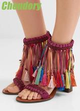 2017 Summer Fashion Multicolor Fringe Women Open Toe Sandals Cutout Side Ladies Chunky Heel Sandals Zipper Back Dress Shoes