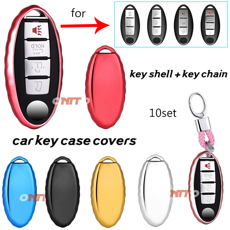 10set Car accessory For Nissan Qashqai J10 J11 X Trail t31 t32 kicks Tiida Pathfinder Car Key case Covers Soft silica gel shell
