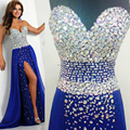 Azul elegante Real amostra Real vestidos Chiffon longo Vestido de baile Abendkleider cristal Vestido de Festa