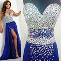 Muestra verdadera del azul Real elegantes vestidos baile 2015 gasa Vestido de noche largo de fiesta Abendkleider Crystal Vestido de fiesta