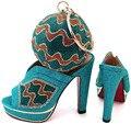 Teal Cor Senhoras Sapatos e Conjuntos De Saco 2016 Sapatas Do Casamento e saco de sapatos de Salto Alto de Alta Qualidade Mulheres Italianas Sapatos e Bolsa de Correspondência conjunto