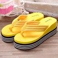 2016 Летняя Обувь Для Женщин Растянуть Ткань ЕВА Шлепанцы Пляжные Сандалии Случайные Клин Платформы Тапочки Sandales Femme Talon 1261
