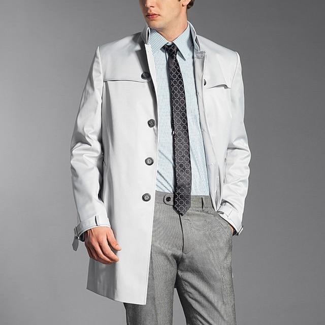 Classic Men's Custom Light Grey Trench Coat European and