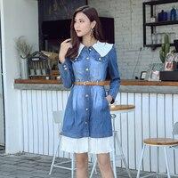 New Autumn Women dress O-Neck Cowboy Firm Ssy Lace Dresses Blue 8638