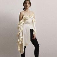 2018 Fashion Summer Asymmetric Sexy Women Top Off The Shoulder Long Sleeve Blouse