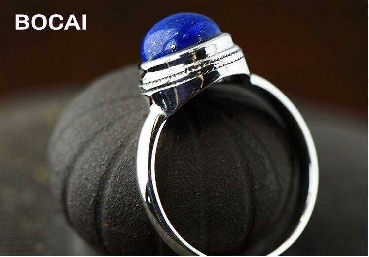 925 mincovní stříbro šperky ženské modely přírodní kulatý lapis kroužek na krk, jednoduchý módní modrý kámen