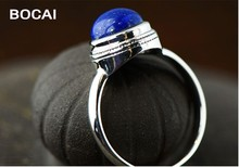 925 sterling silver jewelry female models natural round lapis lanyard ring, simple fashion blue stone ring