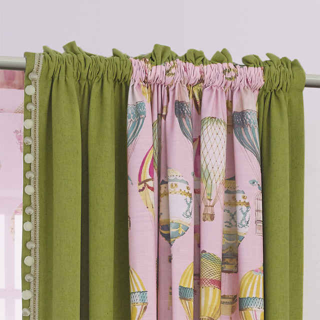 Printing Children Window Curtains Pink Thick Girls Bedroom Curtain ...