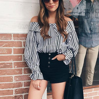 Newest 2017 Star Style Fashion Runway Designer Tops Women's Slash Neck Off The Shoulder Striped Blouse