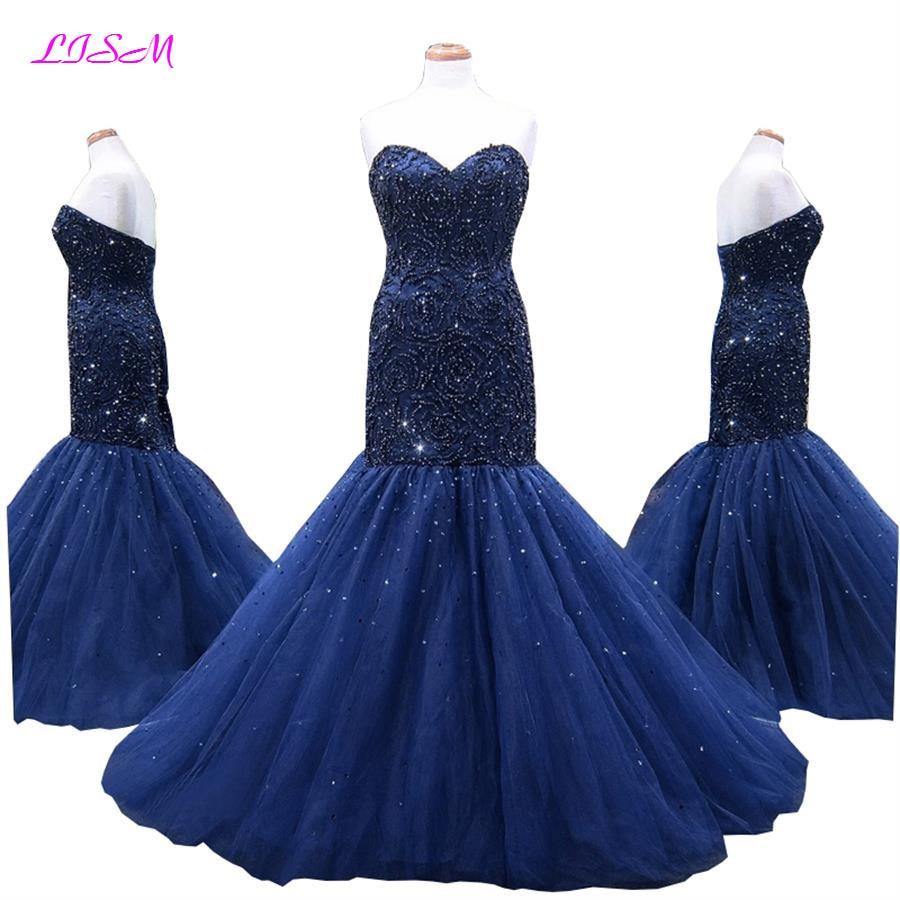 Elegant Trumpet Mermaid Prom Dresses Sweetheart Empire Sheath Long Rhinestones Sequins Beaded Tulle Evening Formal Dresses