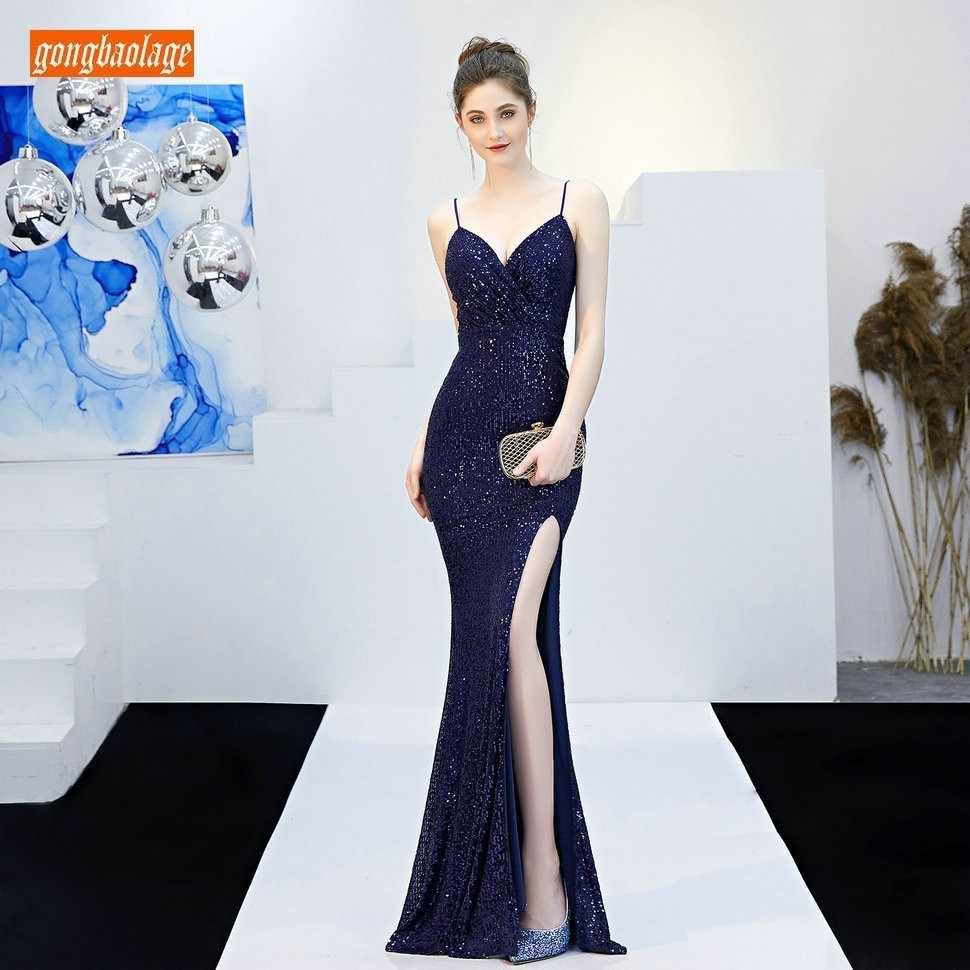 14f487564473e Fashion Dark Navy Women Party Evening Gowns Long 2019 Sexy Reflective  Formal Dress V Neck Sequined Lady Slim Fit Evening Dresses