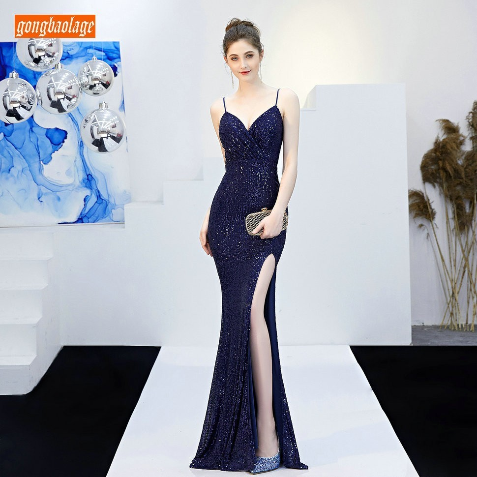 Fashion Dark Navy Women Party   Evening   Gowns Long 2019 Sexy Reflective Formal   Dress   V Neck Sequined Lady Slim Fit   Evening     Dresses