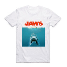 2017Fashion Men Print Jaws Movie Vintage Poster Funny T-shirt O-Neck Short Sleeves Summer Casual Homme Hipster Tops Tees T shirt