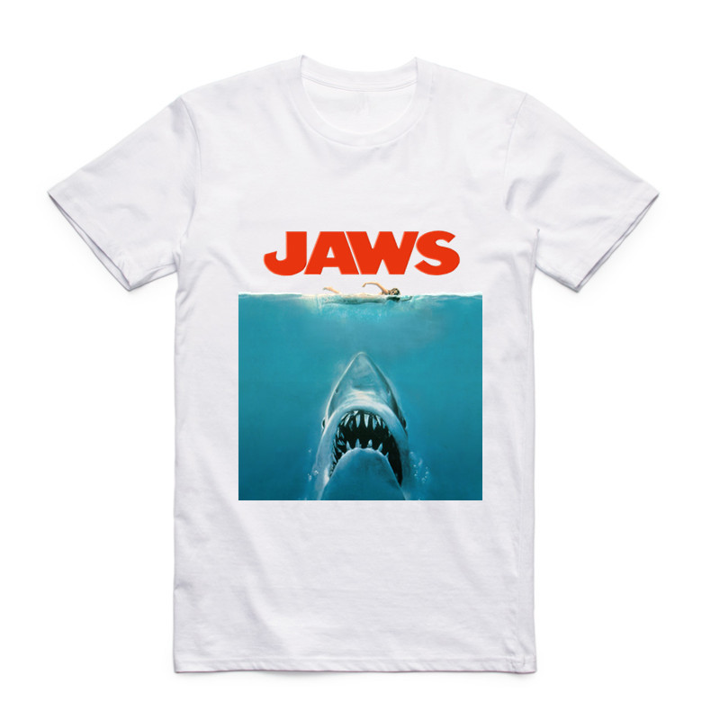 Fashion Men Print Jaws Movie Vintage Poster Funny   T  -  shirt   O-Neck Short Sleeves Summer Casual Homme Hipster Tops Tees   T     shirt