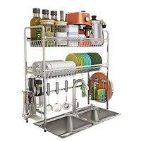 新二層キッチン食器棚 304 ステンレス鋼水切りボウルプレート乾燥ラックキッチンオーガナイザー収納ホルダー