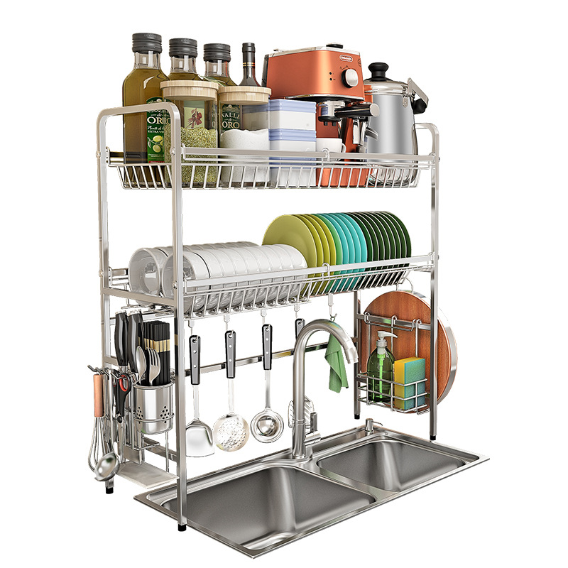 New Double layer Kitchen Dish Rack 304 Stainless Steel Dish Drainer Bowl Plate Drying Rack Kitchen Organizer Storage Holder