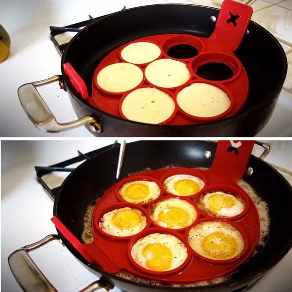 Nonstick Pancake Egg Ring Maker Silicone Kitchen Pancake Mold Egg Cooking Tool With 7 Holes