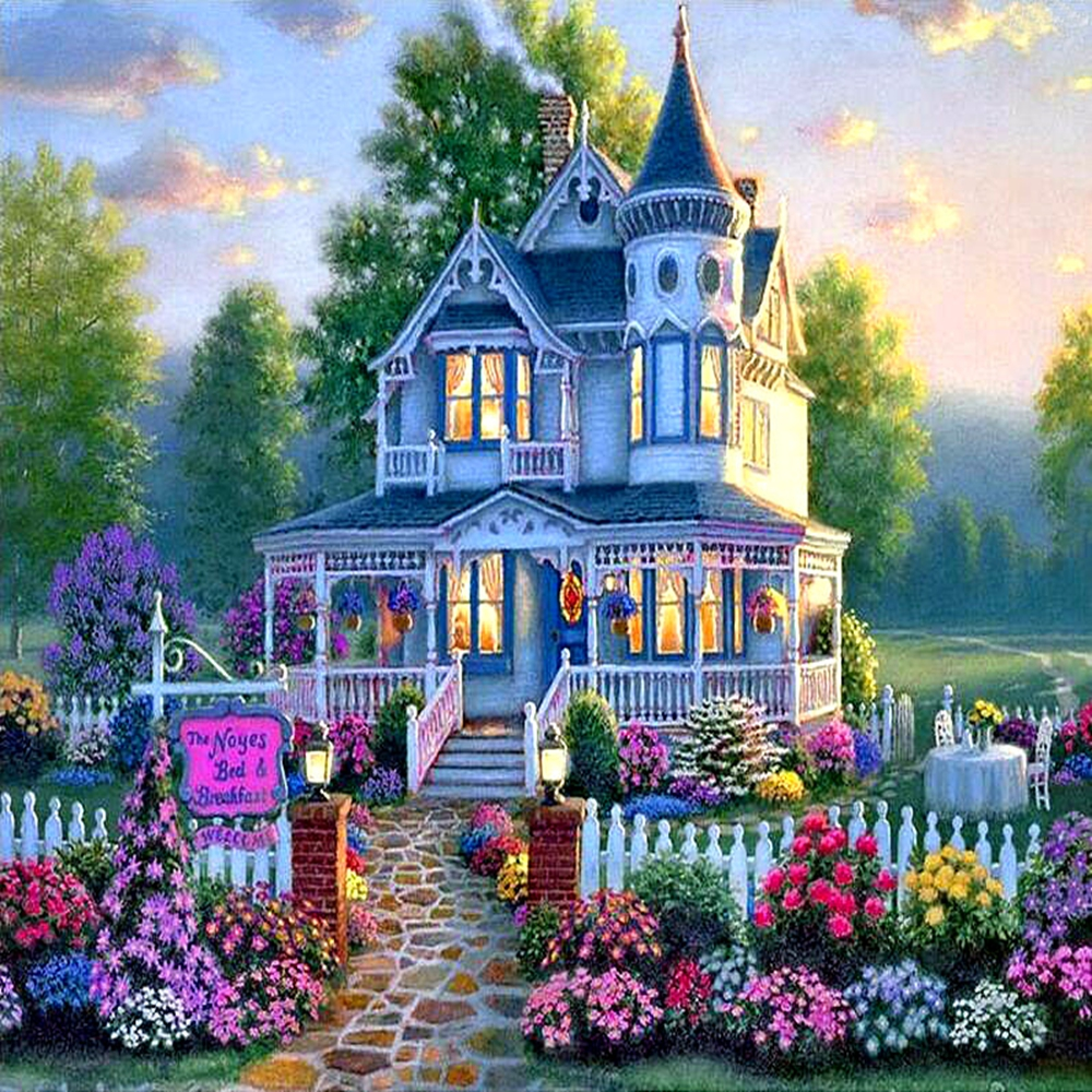 Needlework Embroidery 5D DIY Diamond Painting Cottage Villa Square Picture Cross Stitch Round Rhinestone Room Decoration Art