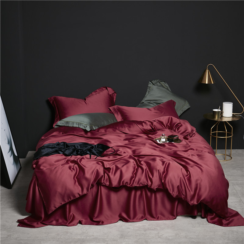 Luxury Tencel Bedding Set red Color Duvet Cover+Flat Sheet/fit sheet+2 Pillowcases King Queen Twin SizeLuxury Tencel Bedding Set red Color Duvet Cover+Flat Sheet/fit sheet+2 Pillowcases King Queen Twin Size