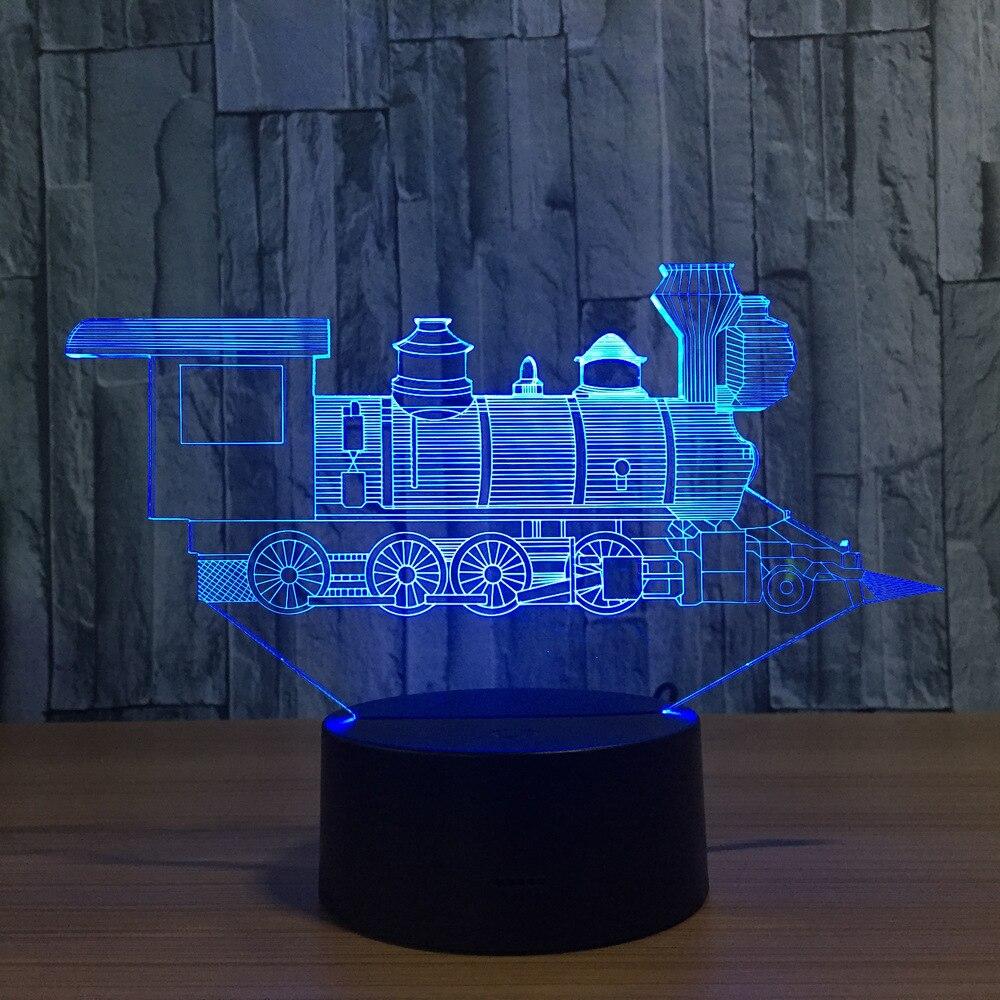 Cool Train Modèle 3D Night Light USB Nouveauté 7 Couleurs Changeantes LED tactile Lampe De Table De Bureau Décoration cadeau pour les enfants