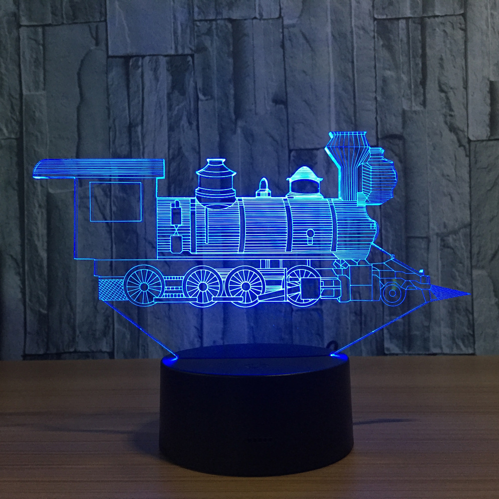 Cool Train Model 3D Night Light USB Novelty 7 Colors Changing LED touch Desk Table Lamp Decoration gift for children
