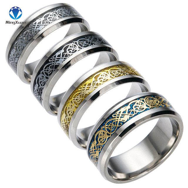 Vintage Gold Free Shipping Dragon 316L stainless steel Ring Mens Jewelry for Men lord Wedding Band