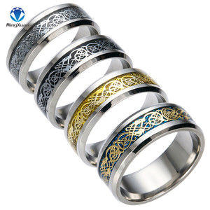 4 COLORS Vintage Gold Free Shipping Dragon 316L stainless steel Ring Mens Jewelry for Men lord Wedding Band male ring for lovers(China)