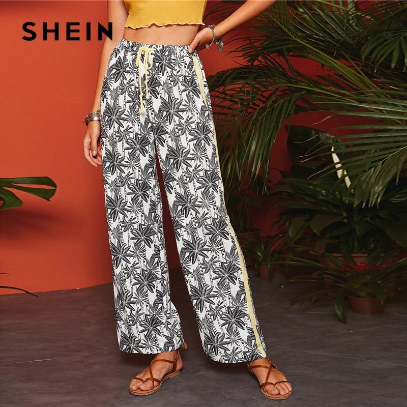 SHEIN Boho Black and White Drawstring Waist Tropical Print   Wide     Leg     Pants   Long Trousers Women Spring Side Stripe Casual   Pants