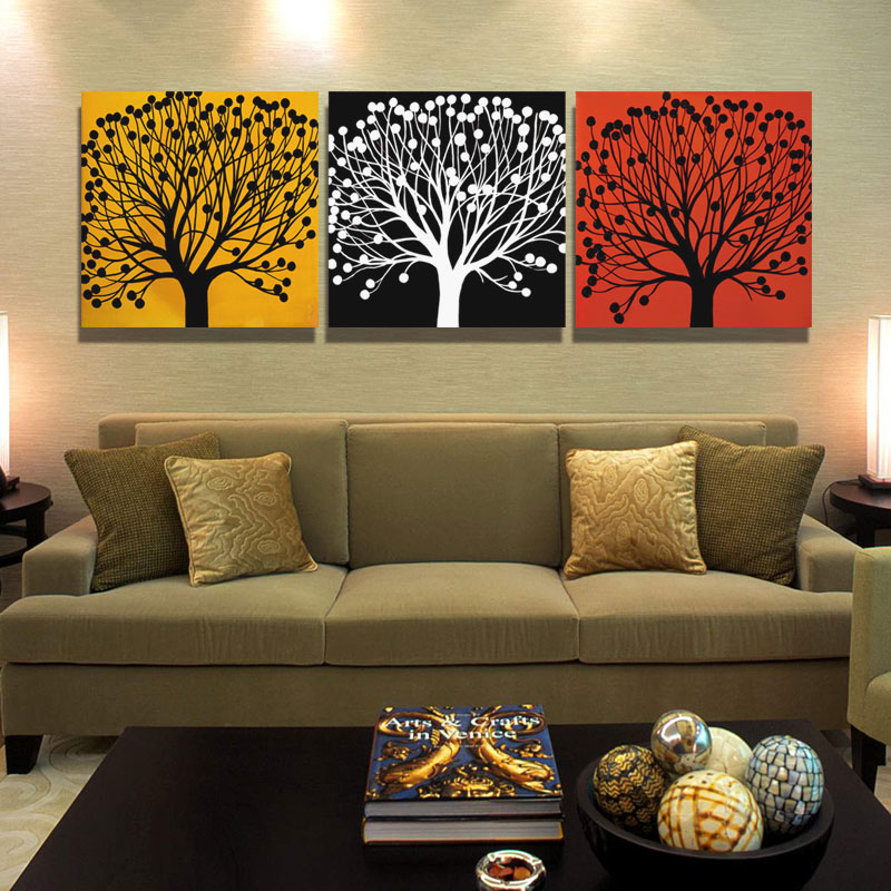 3 Piece Canvas Tree Painting Calligraphy Abstract Wall Art Picture Landscape For Living Room No Frame In From Home