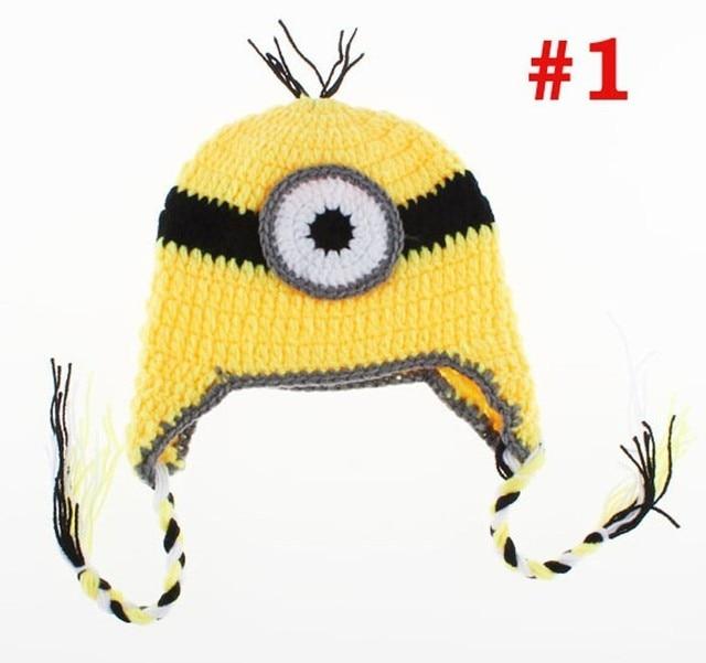 Handmade Crochet Hat Knitted Winter Earflap Hat Cartoon Minion