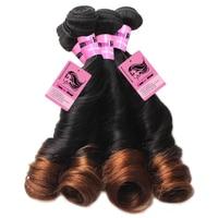 Funmi Bouncy Curly Human Hair Bundles Brazilian Virgin Hair Unprocessed Human Hair Bundles Ombre Two Tone1B 4 Medium Brown