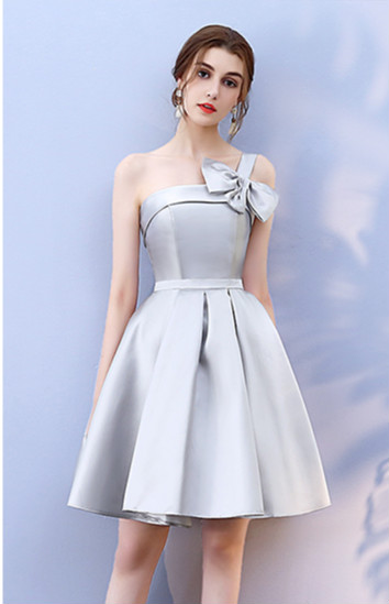Mini Dress Bow Knot One Shouler Grey Colour Bridesmaid Dresses Elegant Women For Wedding Dress Back Of Bandage